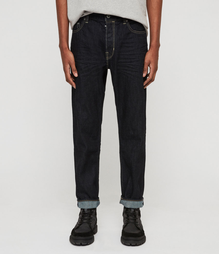 Mens Ridge Tapered Jeans, Dark Indigo Blue (dark_indigo_blue) - Image 1