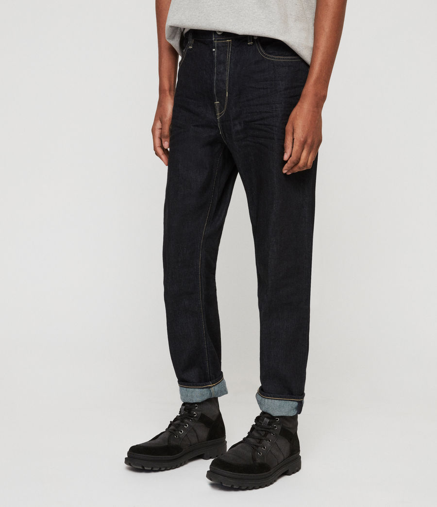 Mens Ridge Tapered Jeans, Dark Indigo Blue (dark_indigo_blue) - Image 2