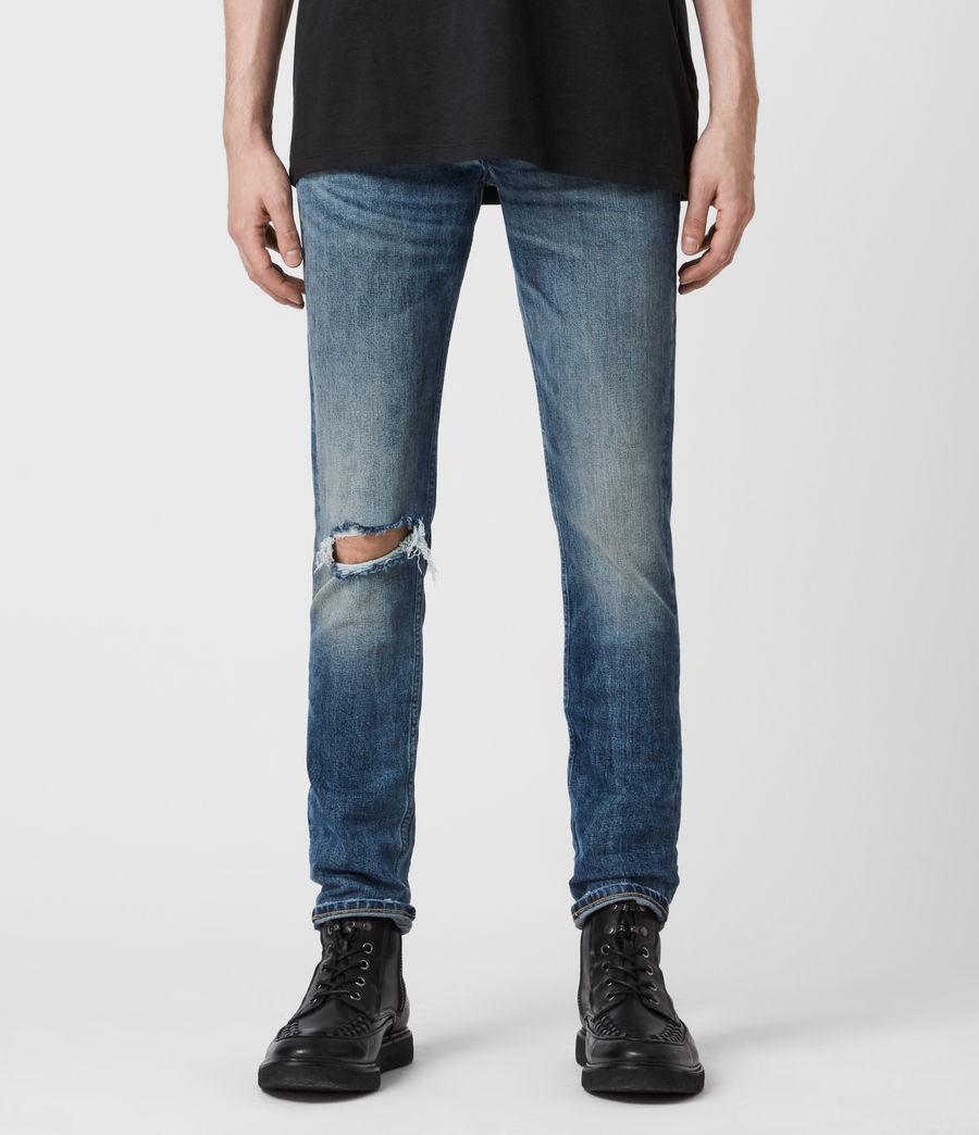 Mens Rex Damaged Slim Jeans, Mid Indigo (mid_indigo) - Image 1