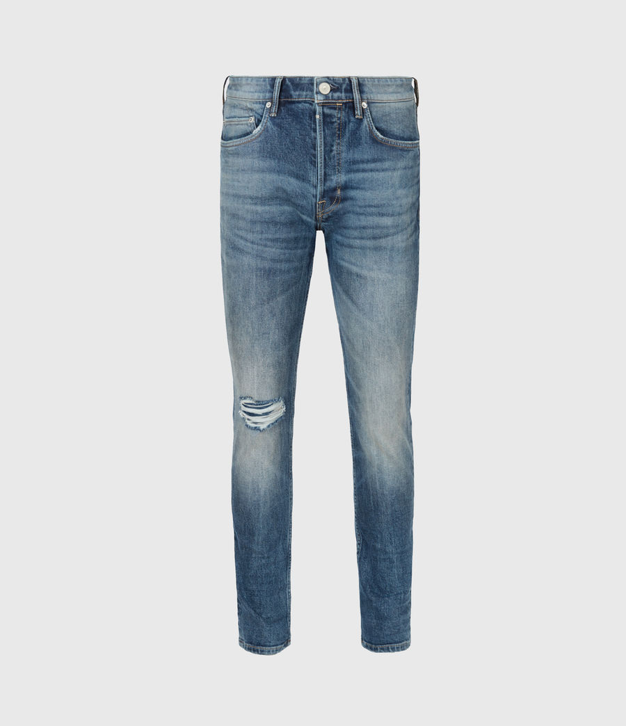 Mens Rex Damaged Slim Jeans, Mid Indigo (mid_indigo) - Image 2