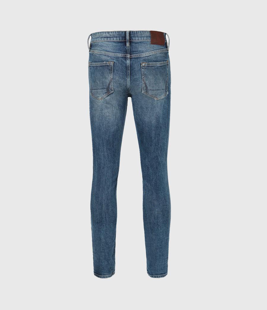 Mens Rex Damaged Slim Jeans, Mid Indigo (mid_indigo) - Image 3