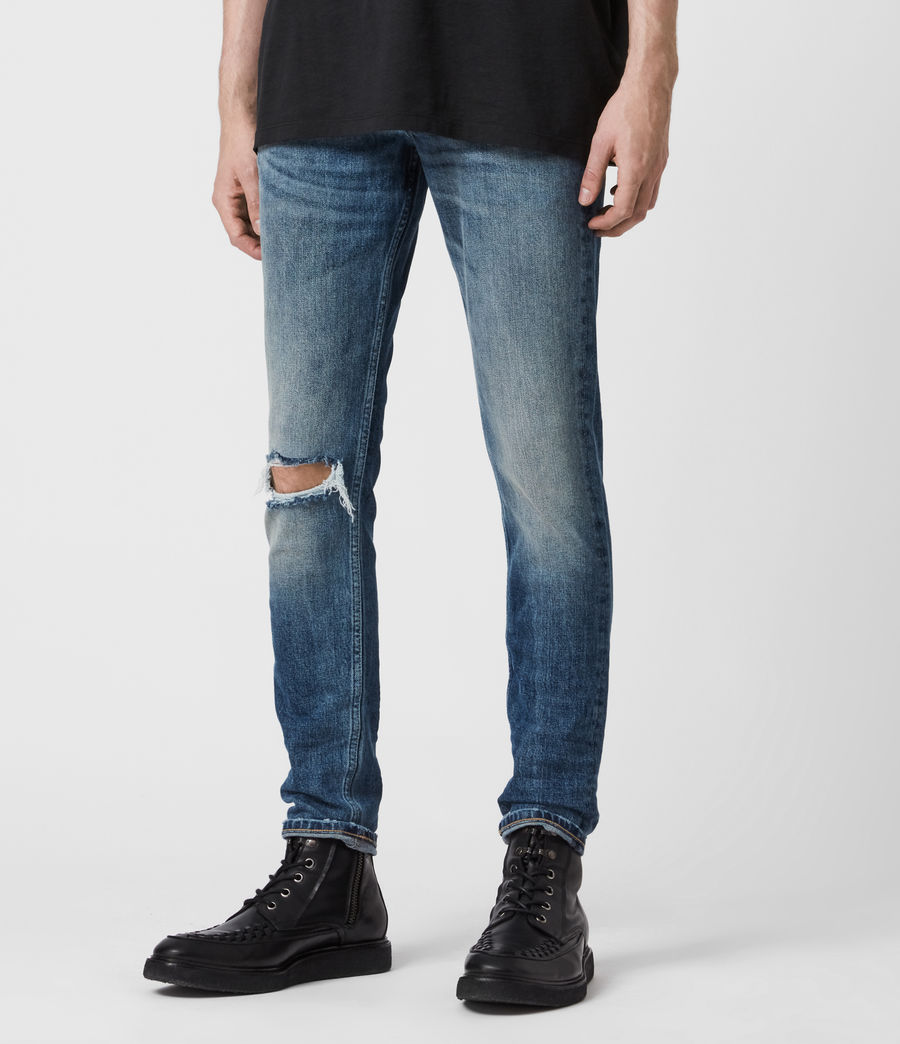 Mens Rex Damaged Slim Jeans, Mid Indigo (mid_indigo) - Image 4