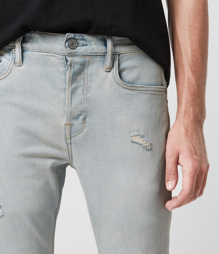 Men's Cigarette Damaged Skinny Jeans, Light Indigo (light_indigo) - Image 2
