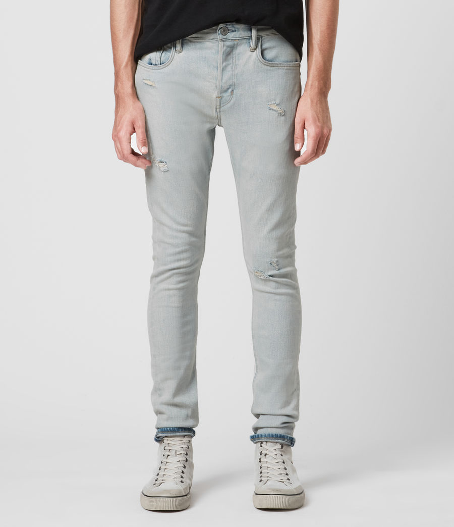 Men's Cigarette Damaged Skinny Jeans, Light Indigo (light_indigo) - Image 3