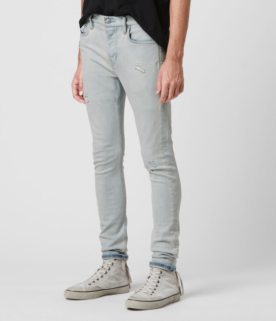 Men's Cigarette Damaged Skinny Jeans, Light Indigo (light_indigo) - Image 4