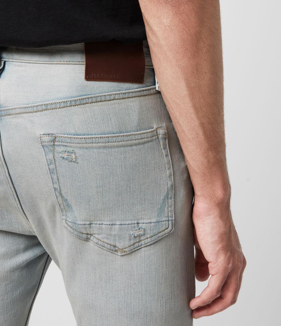 Hombres Cigarette Damaged Skinny Jeans, Light Indigo (light_indigo) - Image 5