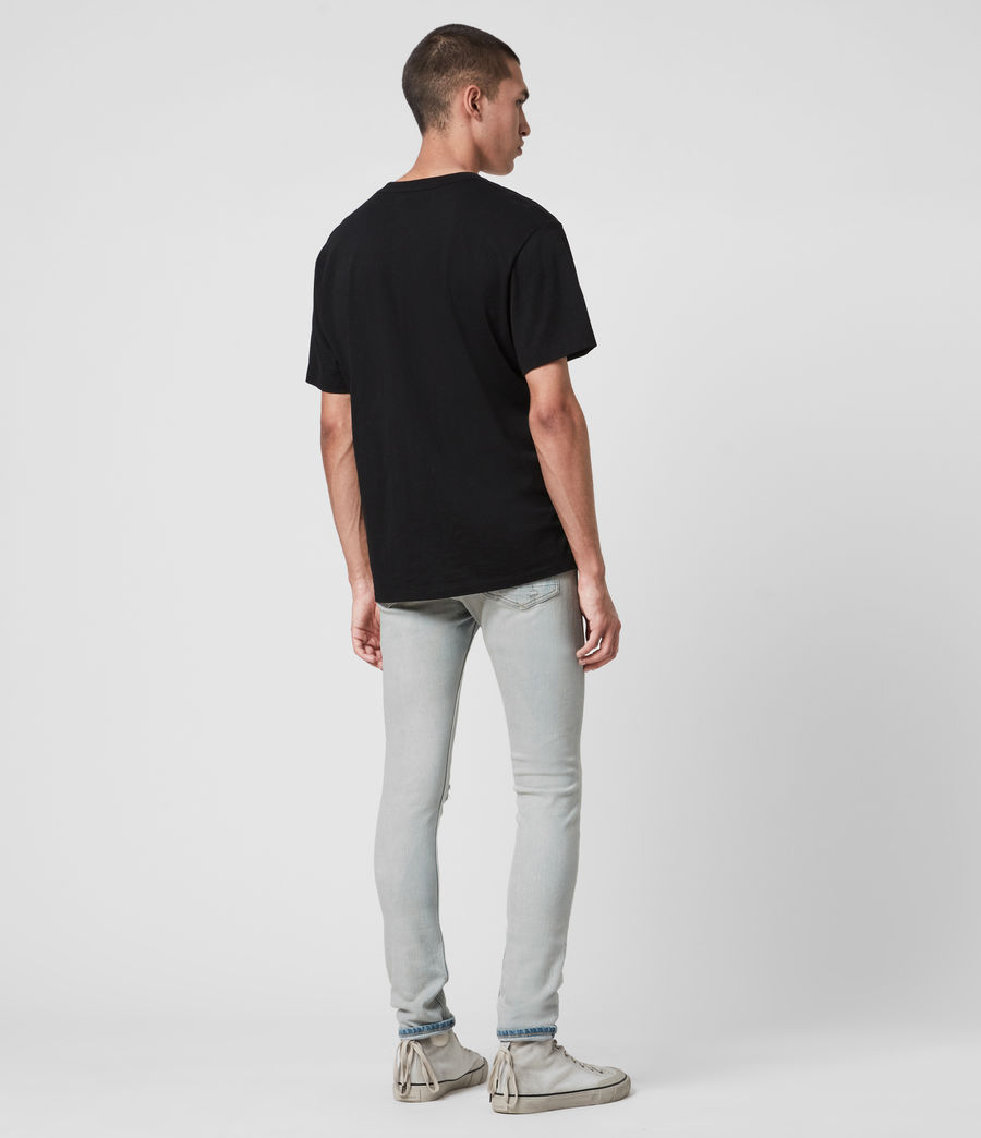 Men's Cigarette Damaged Skinny Jeans, Light Indigo (light_indigo) - Image 6