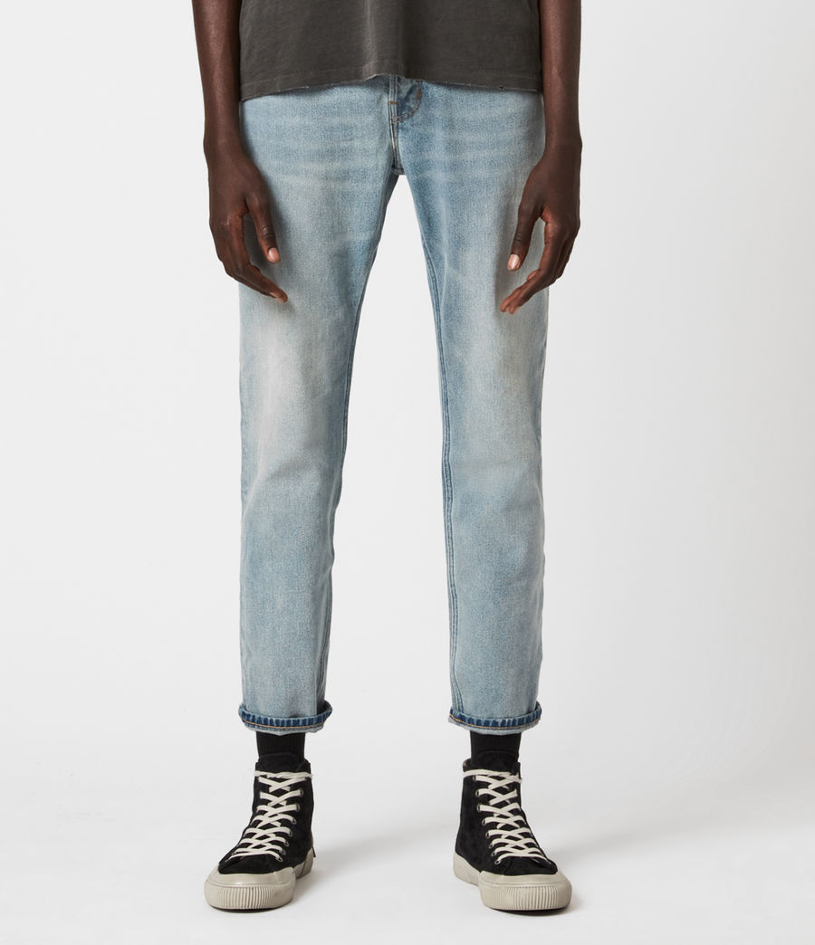 Mens Dean Cropped Slim Jeans, Light Indigo (light_indigo) - Image 1