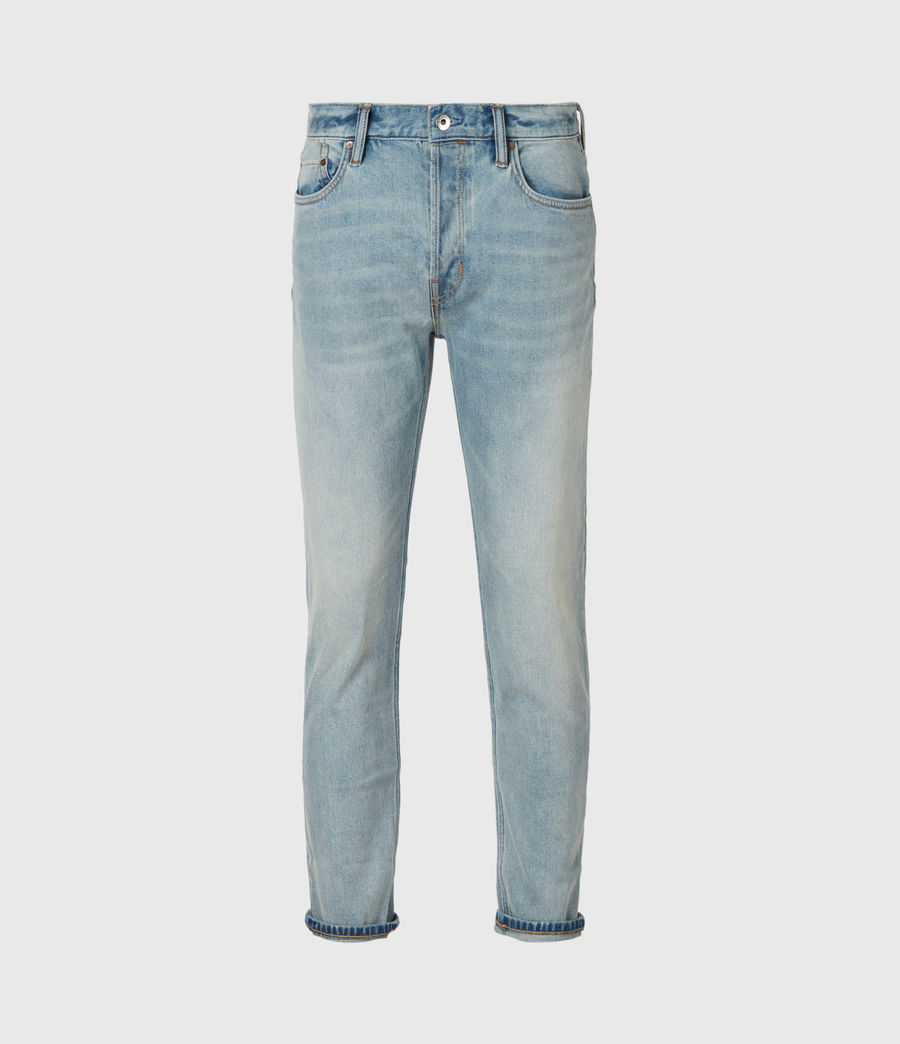 Mens Dean Cropped Slim Jeans, Light Indigo (light_indigo) - Image 2