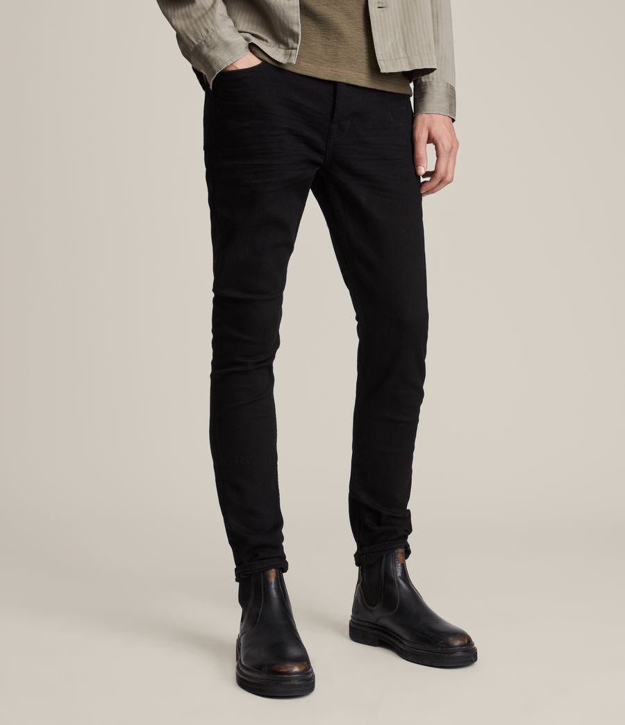 Mens Cigarette Skinny Jeans, Jet Black (jet_black) - Image 1