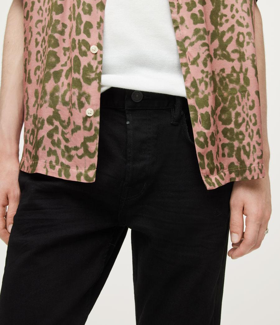 Mens Cigarette Skinny Jeans, Jet Black (jet_black) - Image 3