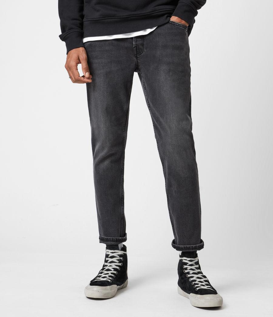 Mens Dean Cropped Slim Jeans, Washed Black (washed_black) - Image 1