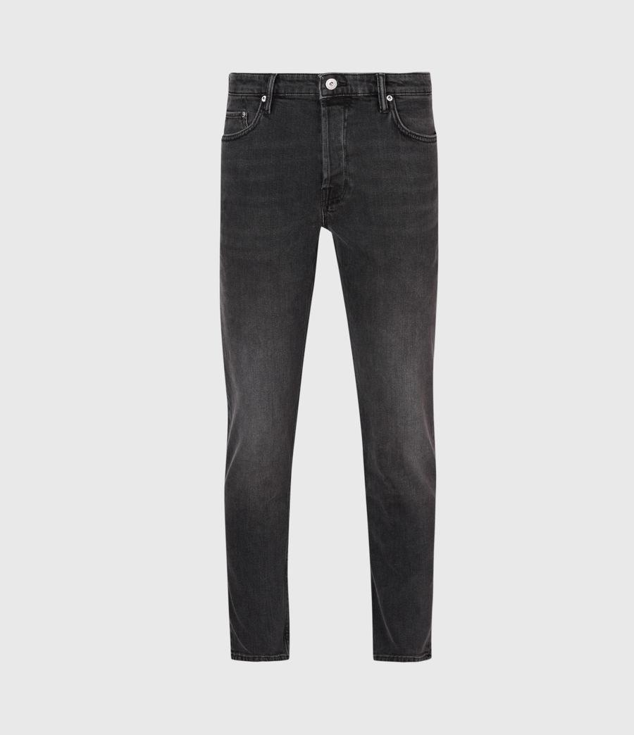 Mens Dean Cropped Slim Jeans, Washed Black (washed_black) - Image 2