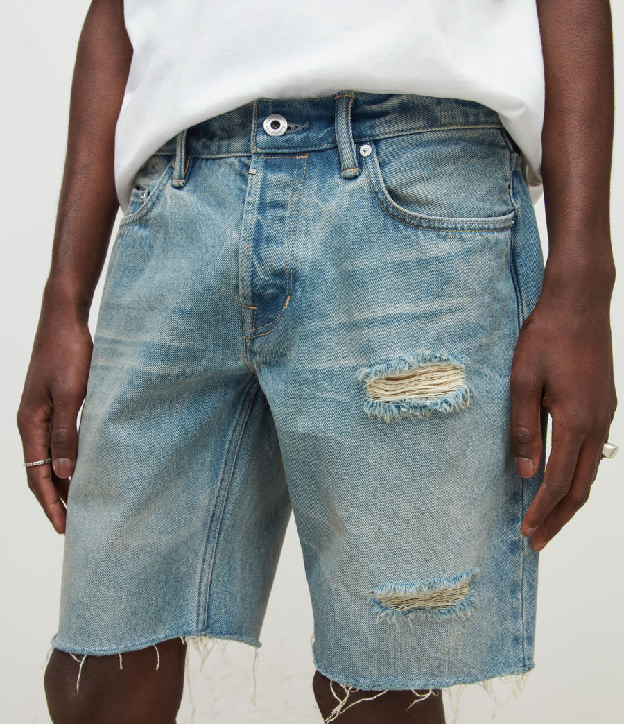 Men's Switch Damaged Denim Shorts (dirty_indigo) - Image 3