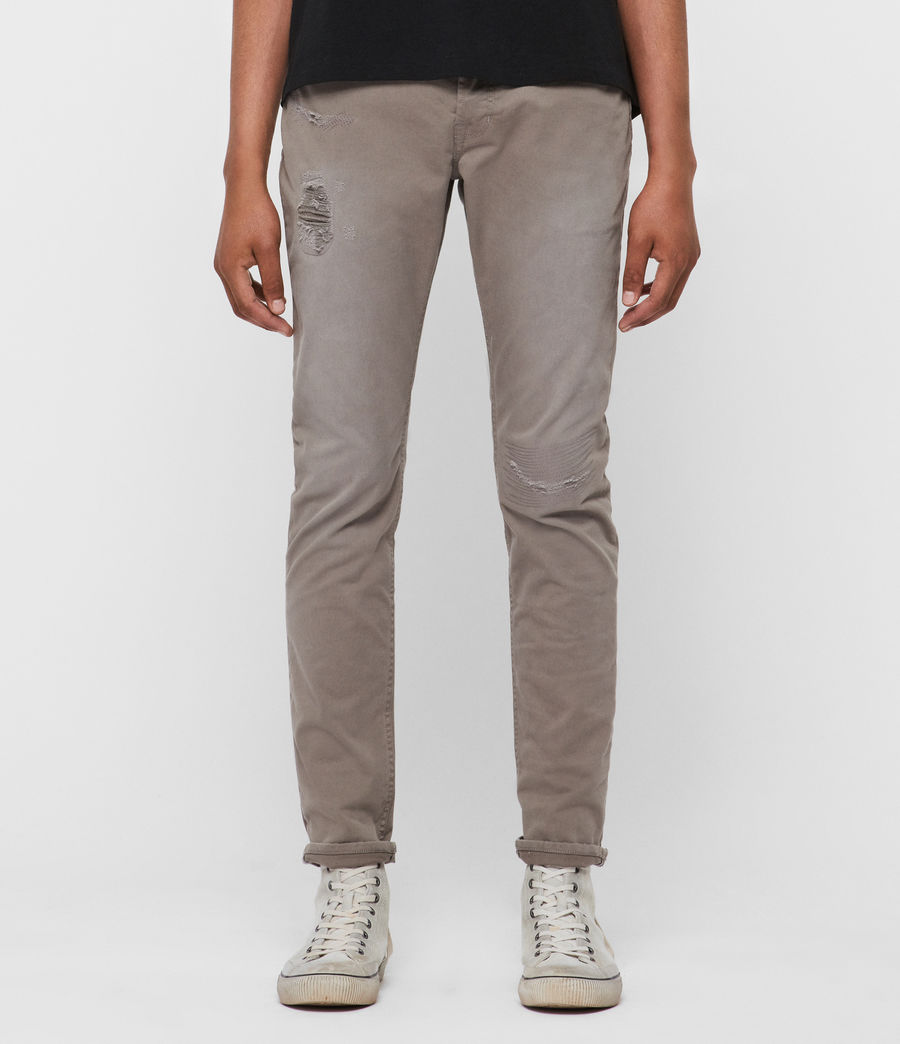Men's Rex Twill Damaged Slim Jeans, Flint Grey (flint_grey) - Image 1