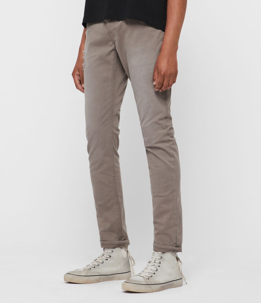 Men's Rex Twill Damaged Slim Jeans, Flint Grey (flint_grey) - Image 4