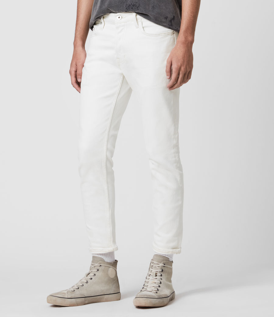 Men's Dean Cropped Slim Jeans, White (white) - Image 4