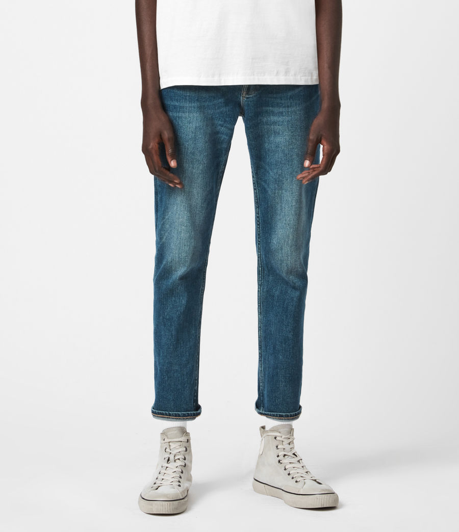Mens Dean Cropped Slim Jeans, Mid Indigo (mid_indigo) - Image 1