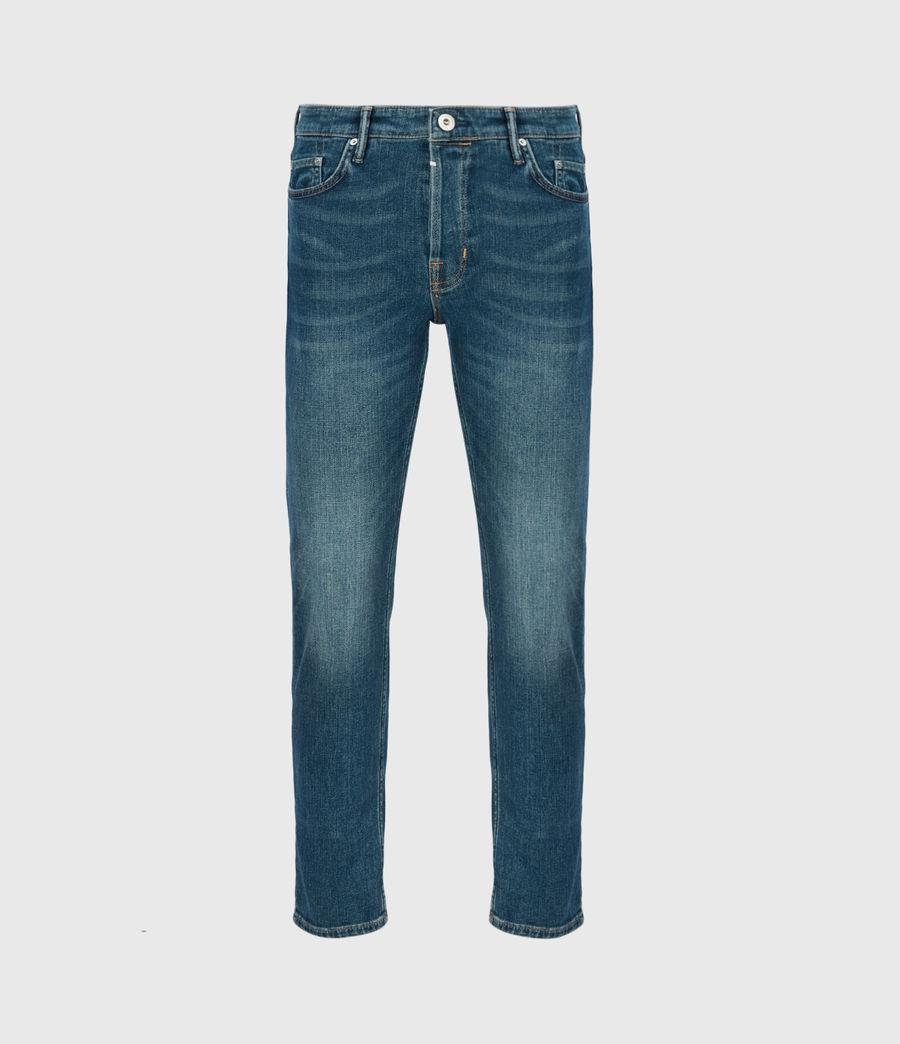 Mens Dean Cropped Slim Jeans, Mid Indigo (mid_indigo) - Image 2