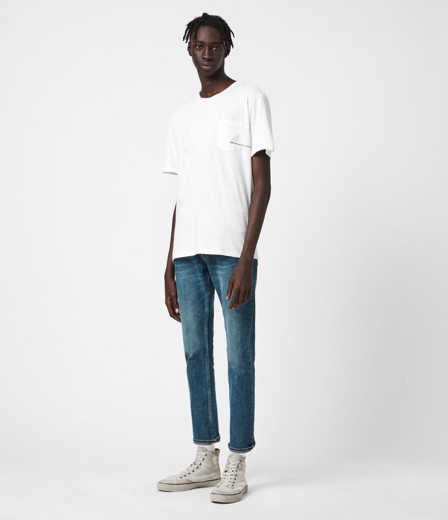 Mens Dean Cropped Slim Jeans, Mid Indigo (mid_indigo) - Image 4
