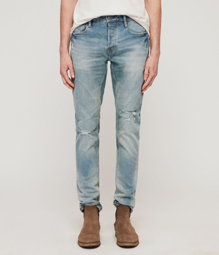 Men's Rex Damaged Slim Jeans, Light Indigo Blue (light_indigo_blue) - Image 1