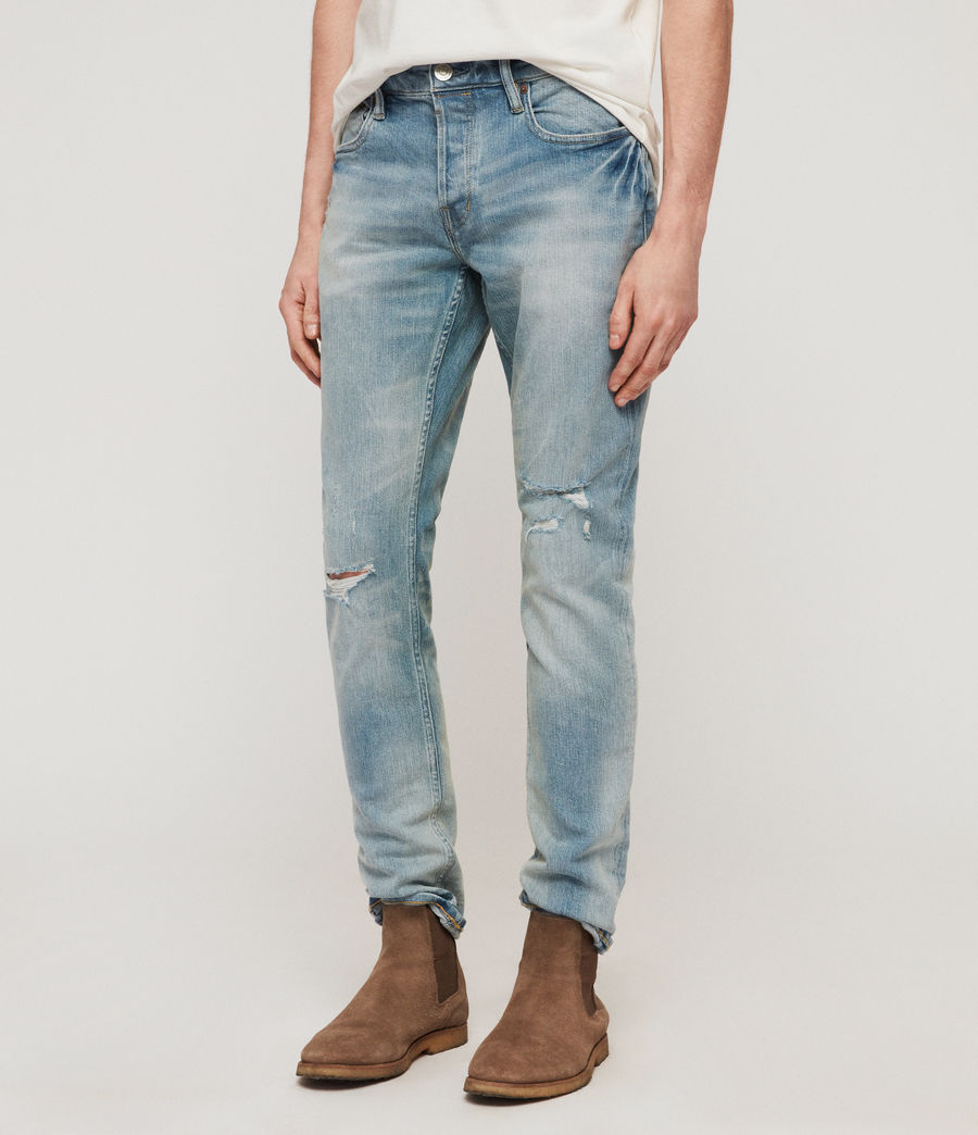 Men's Rex Damaged Slim Jeans, Light Indigo Blue (light_indigo_blue) - Image 2