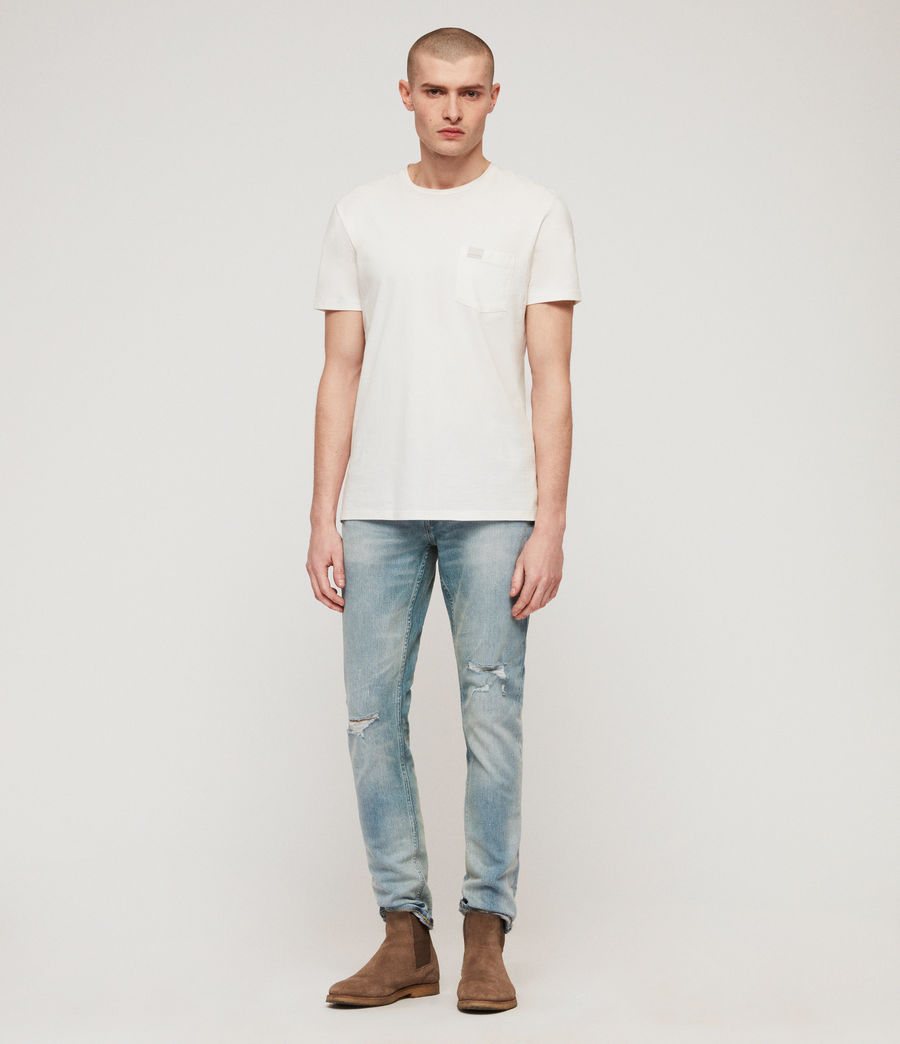 Men's Rex Damaged Slim Jeans, Light Indigo Blue (light_indigo_blue) - Image 3