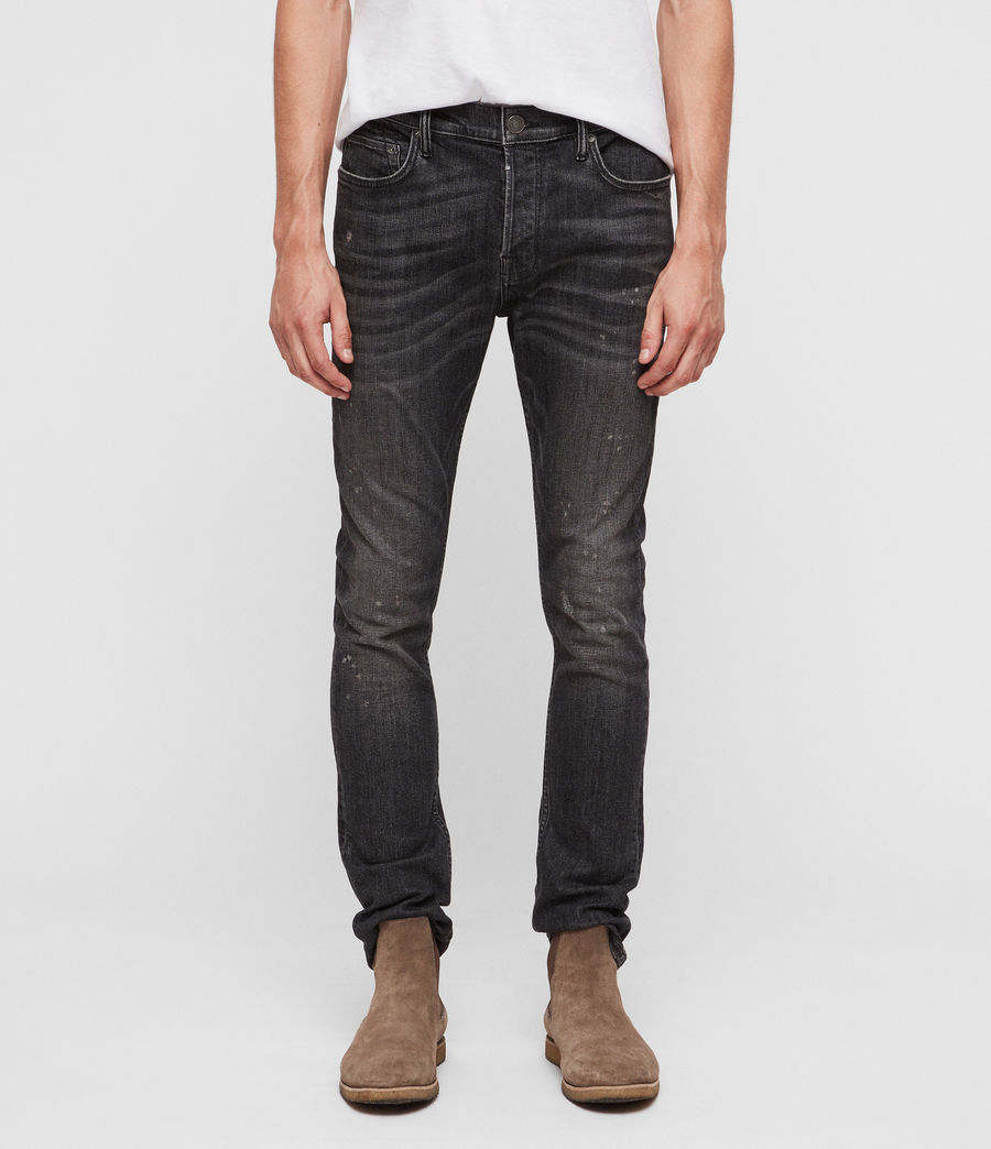 Men's Cigarette Damaged Skinny Jeans (washed_black) - Image 1