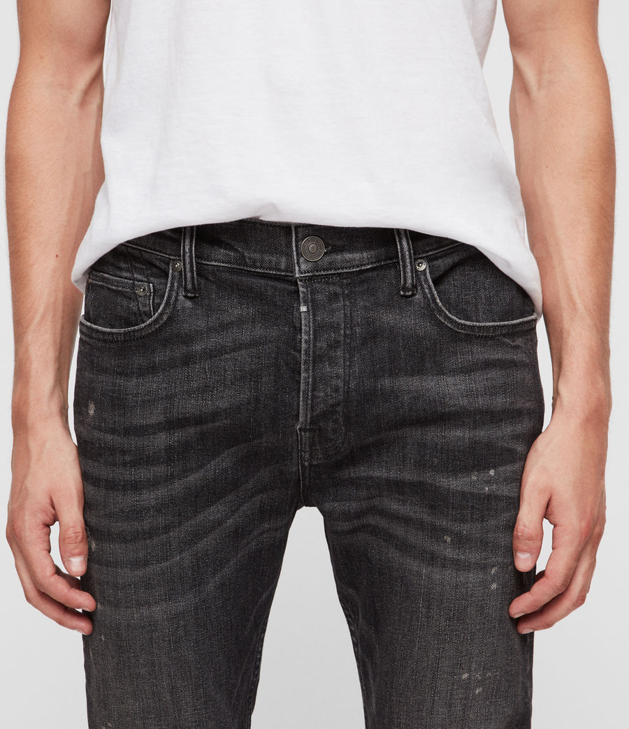 Men's Cigarette Damaged Skinny Jeans (washed_black) - Image 2