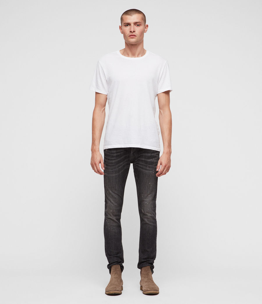 Men's Cigarette Damaged Skinny Jeans (washed_black) - Image 3