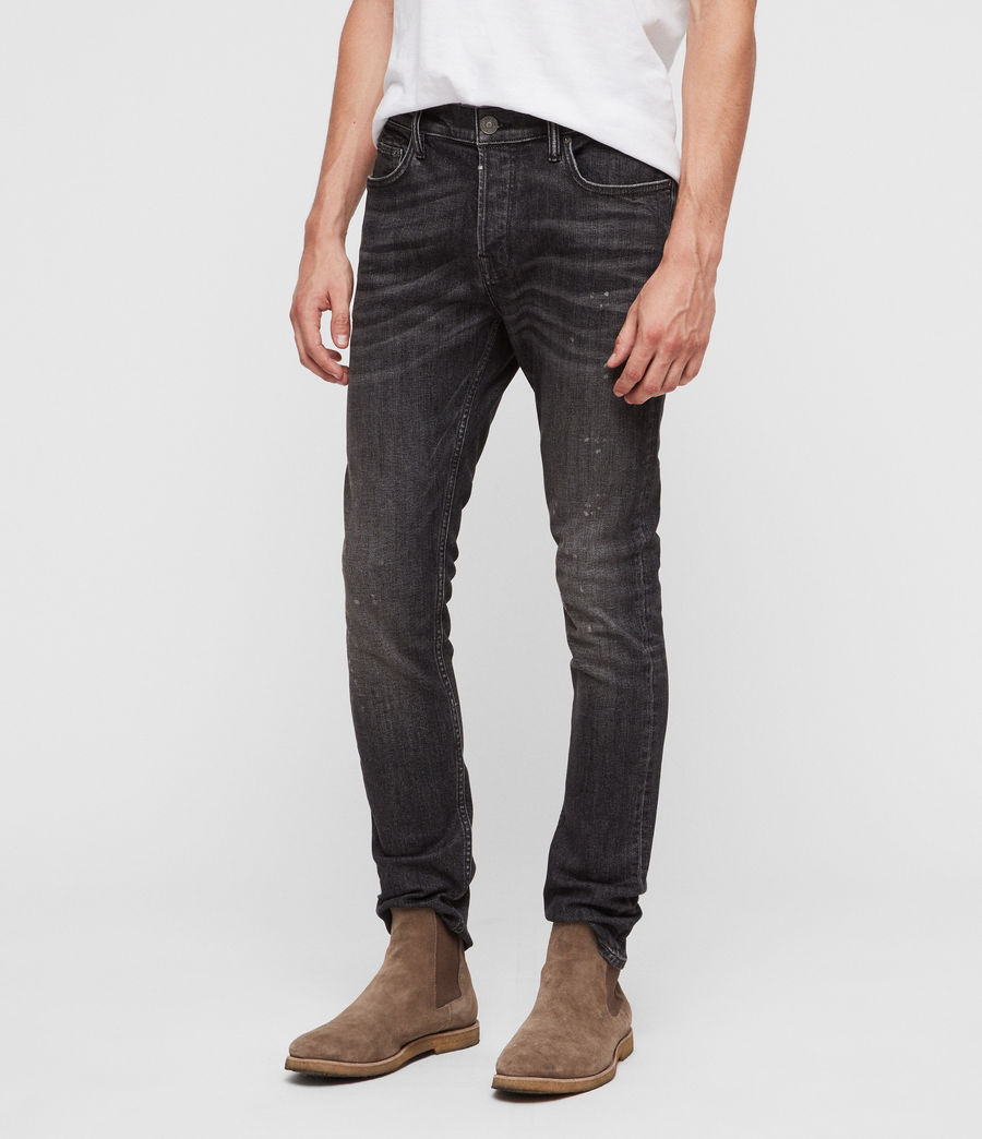 Men's Cigarette Damaged Skinny Jeans (washed_black) - Image 4