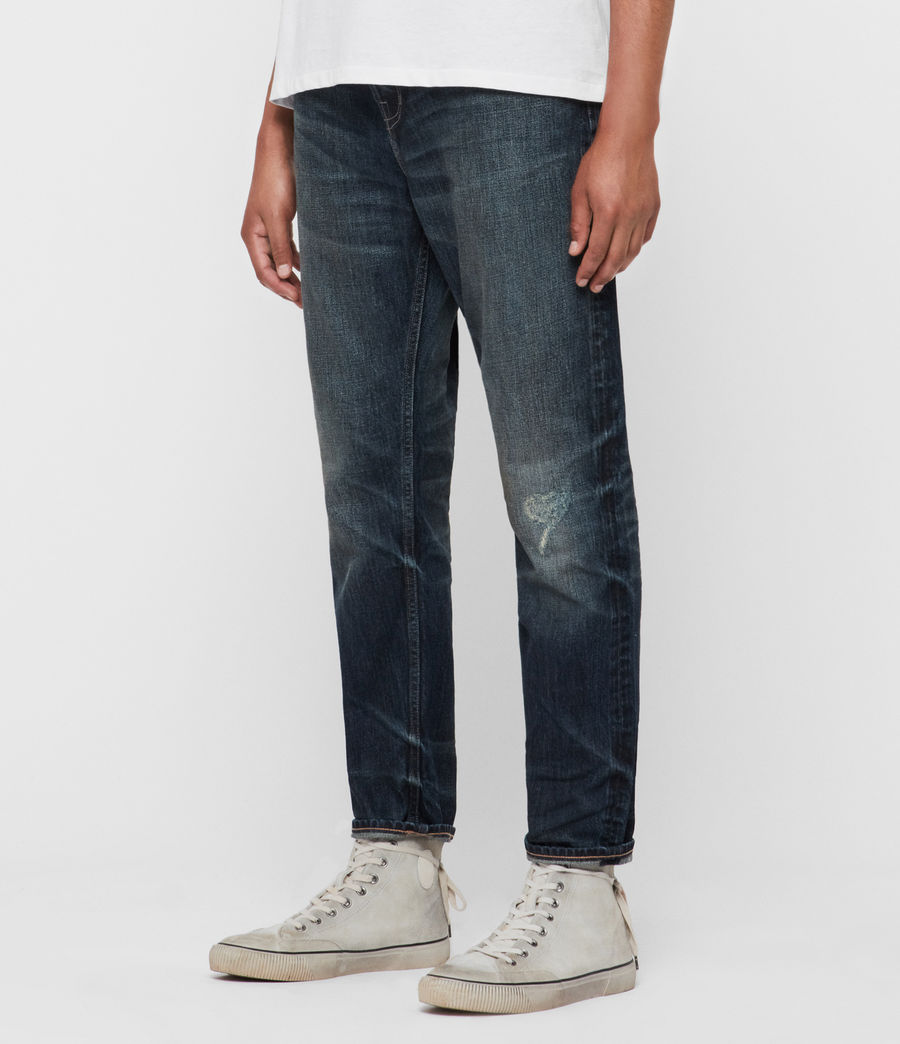 Mens Ridge Damaged Tapered Jeans, Indigo (indigo) - Image 4