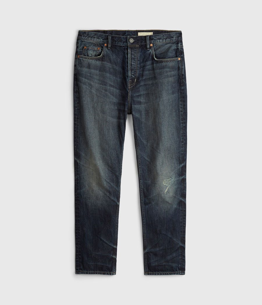 Mens Ridge Damaged Tapered Jeans, Indigo (indigo) - Image 6