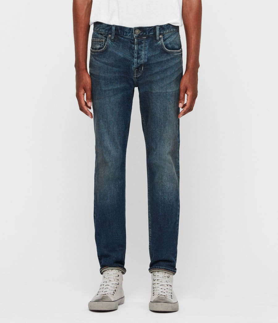 Mens Carter Straight Jeans, Washed Indigo (washed_indigo) - Image 1