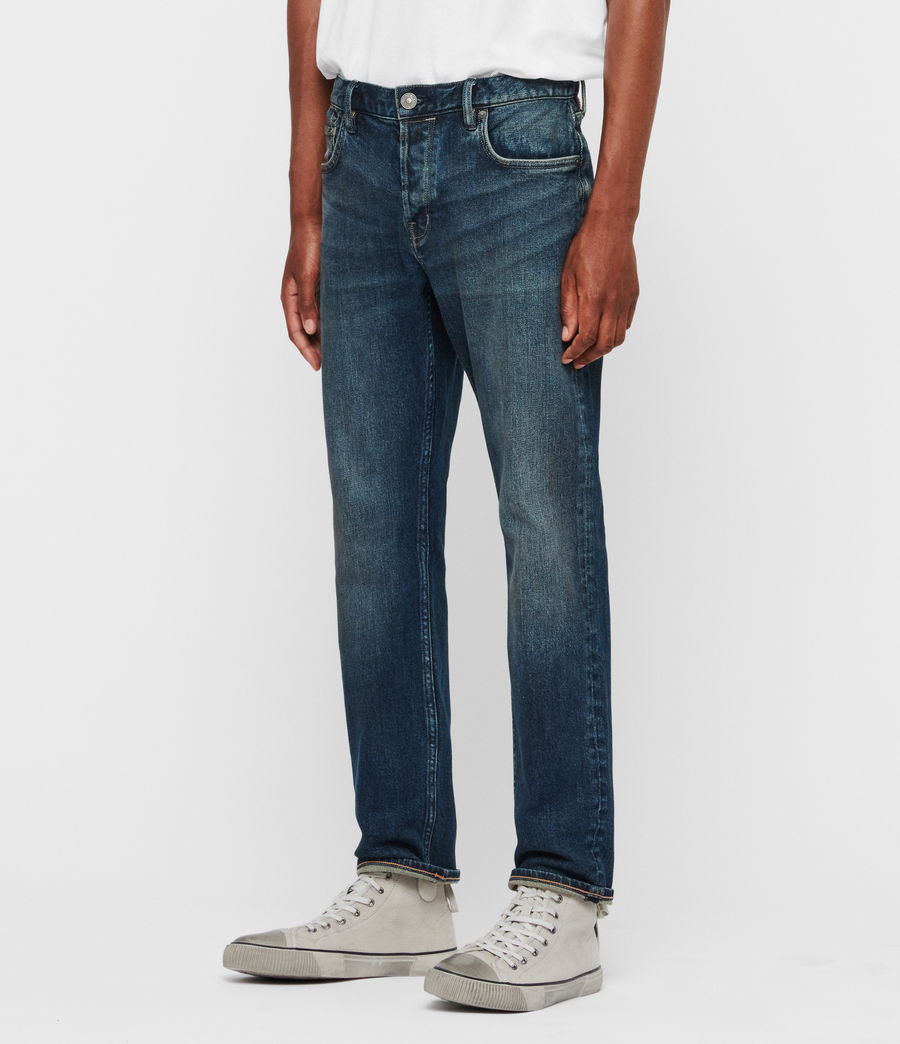 Mens Carter Straight Jeans, Washed Indigo (washed_indigo) - Image 4