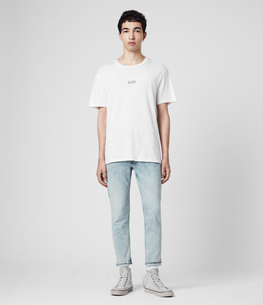 Mens Dean Cropped Slim Jeans, Light Indigo (light_indigo) - Image 3