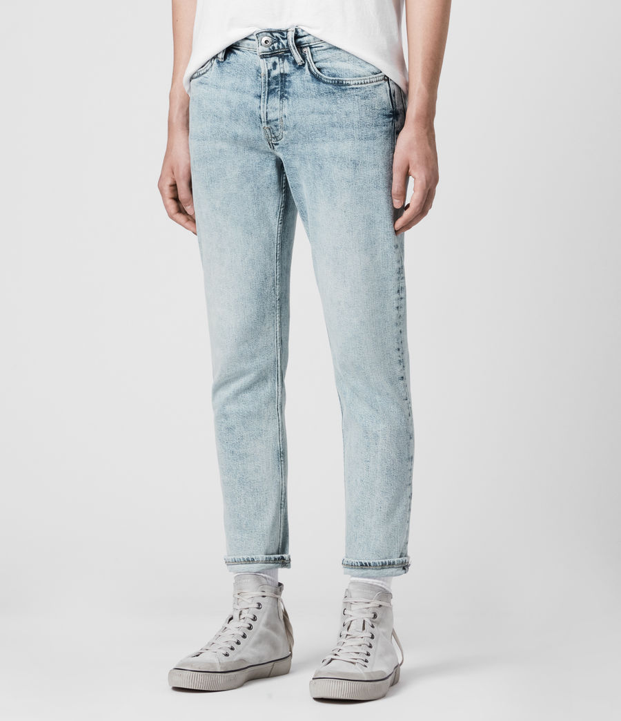 Mens Dean Cropped Slim Jeans, Light Indigo (light_indigo) - Image 4