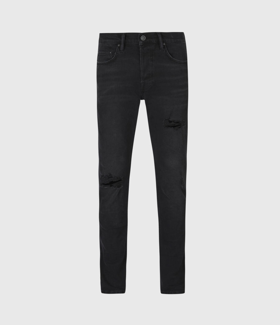 Men's Rex Damaged Slim Jeans, Washed Black (washed_black) - Image 2