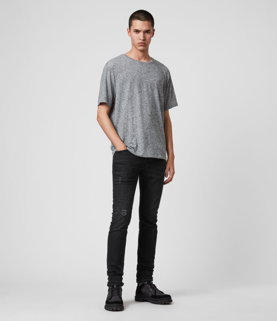 Mens Rex Slim Jeans, Washed Black (washed_black) - Image 2