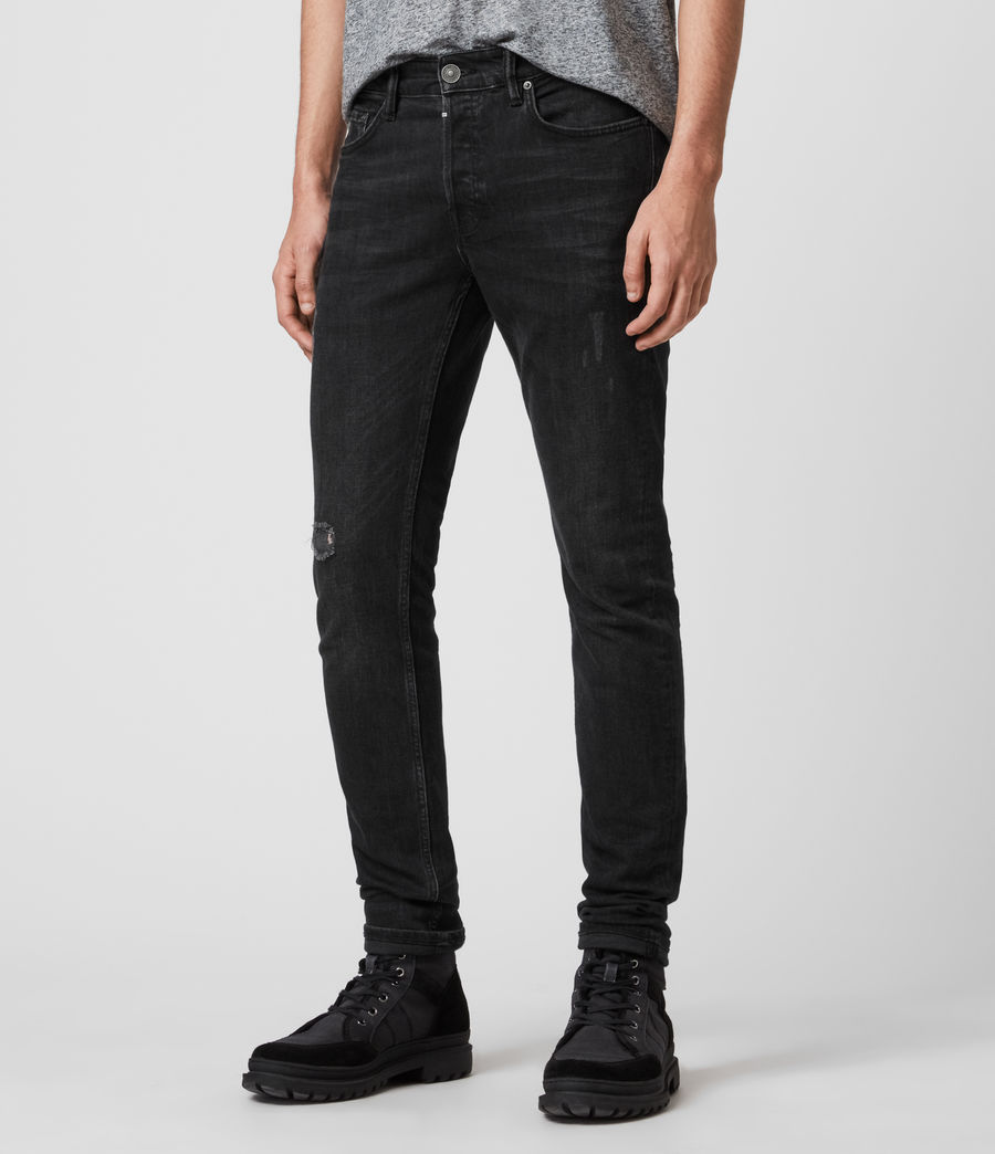 Mens Rex Slim Jeans, Washed Black (washed_black) - Image 4