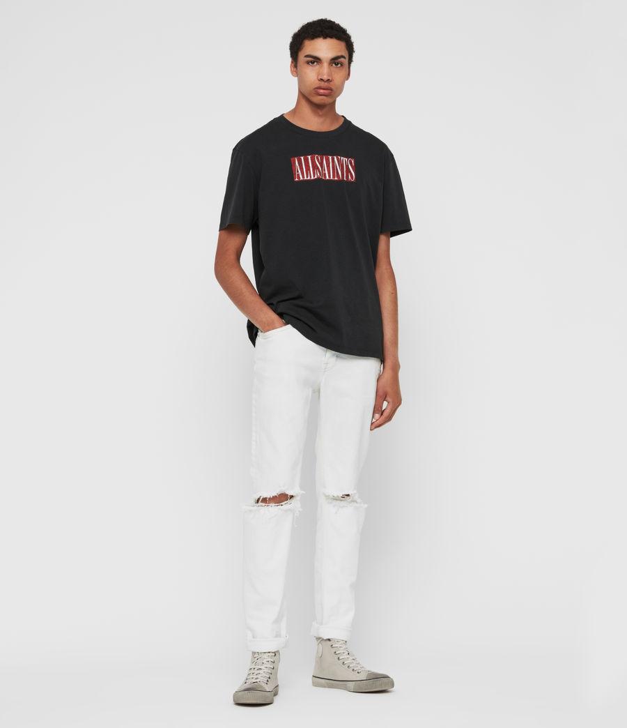 Mens Rex Damaged Slim Jeans, Bleached Indigo Blue (bleachedindigoblue) - Image 1