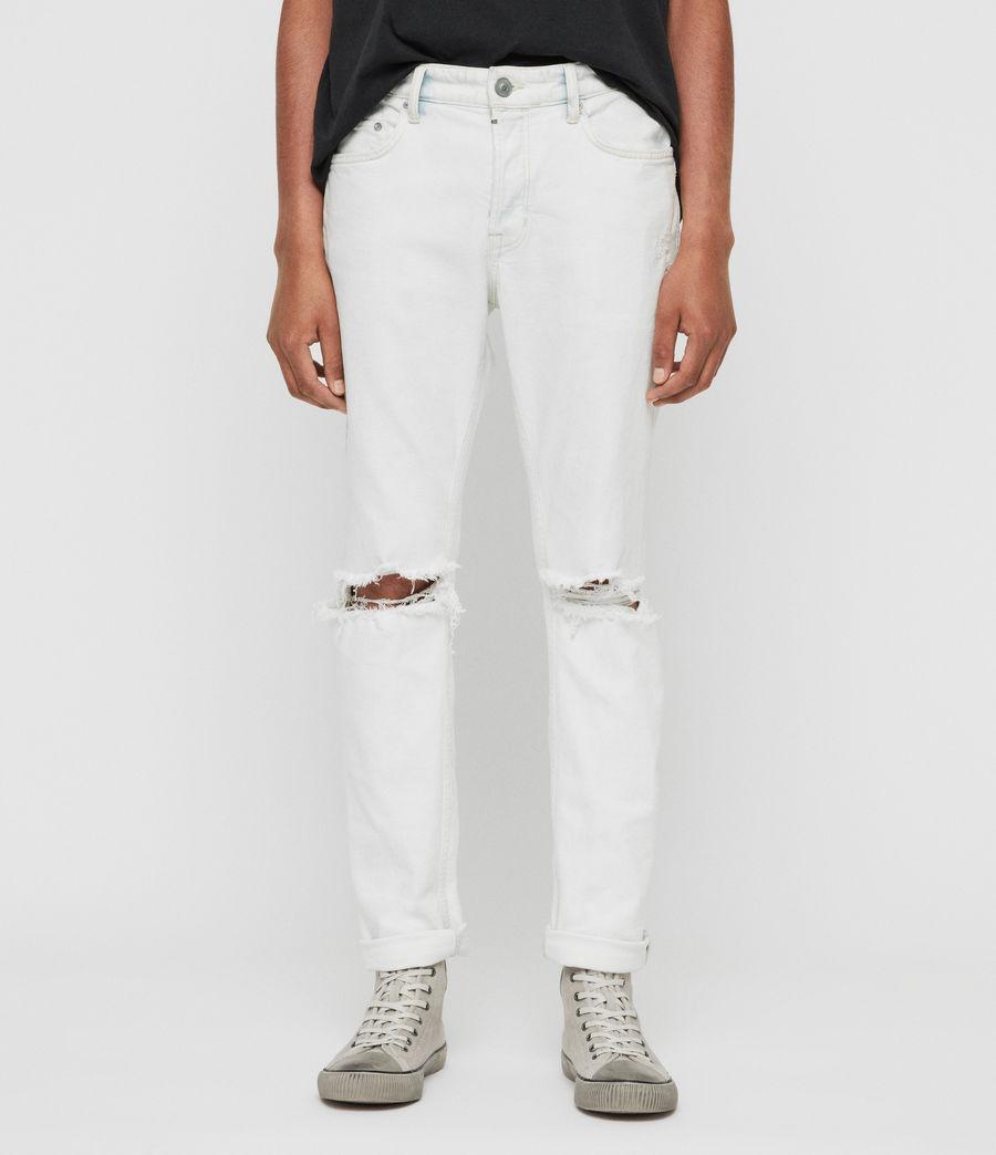 Mens Rex Damaged Slim Jeans, Bleached Indigo Blue (bleachedindigoblue) - Image 2