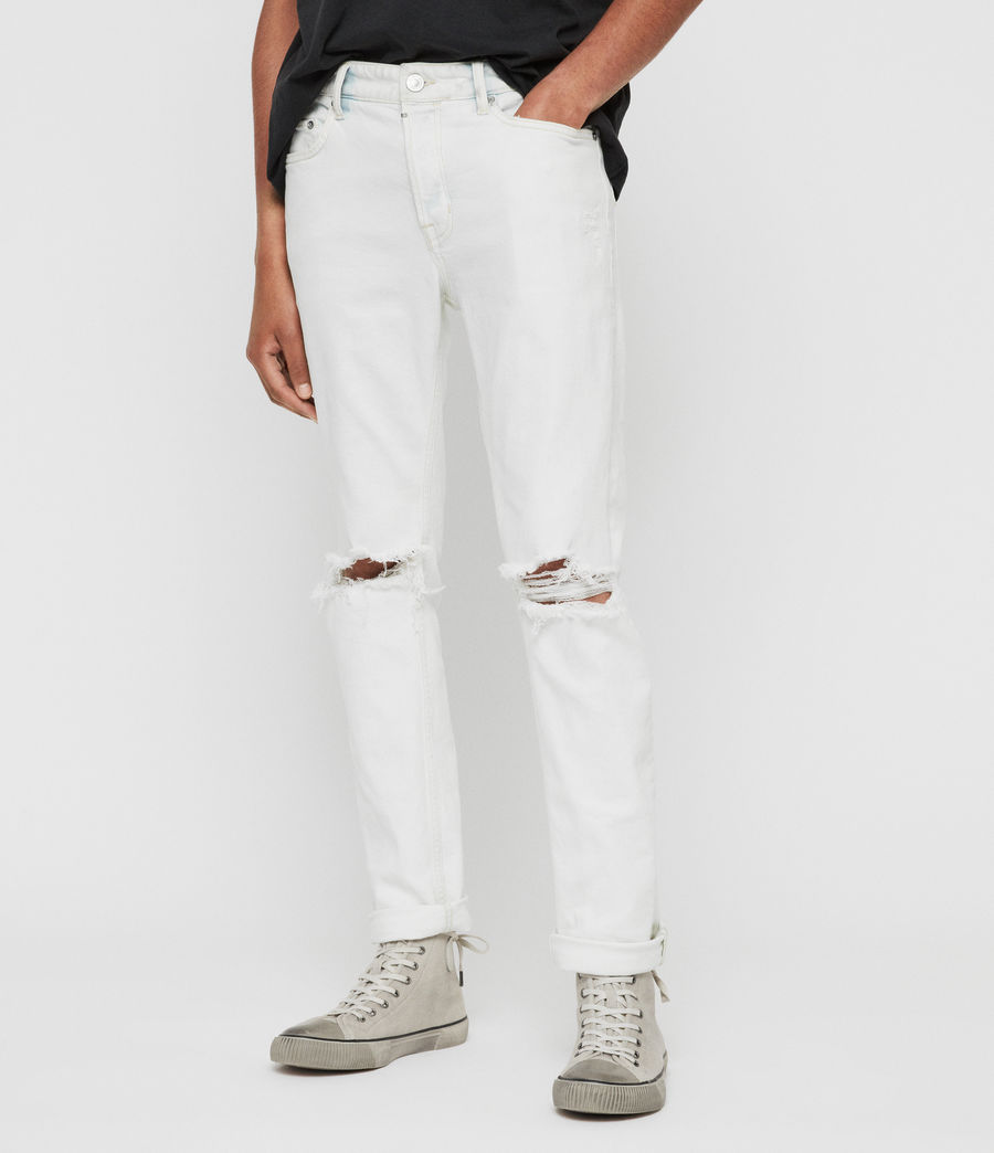 Mens Rex Damaged Slim Jeans, Bleached Indigo Blue (bleachedindigoblue) - Image 3
