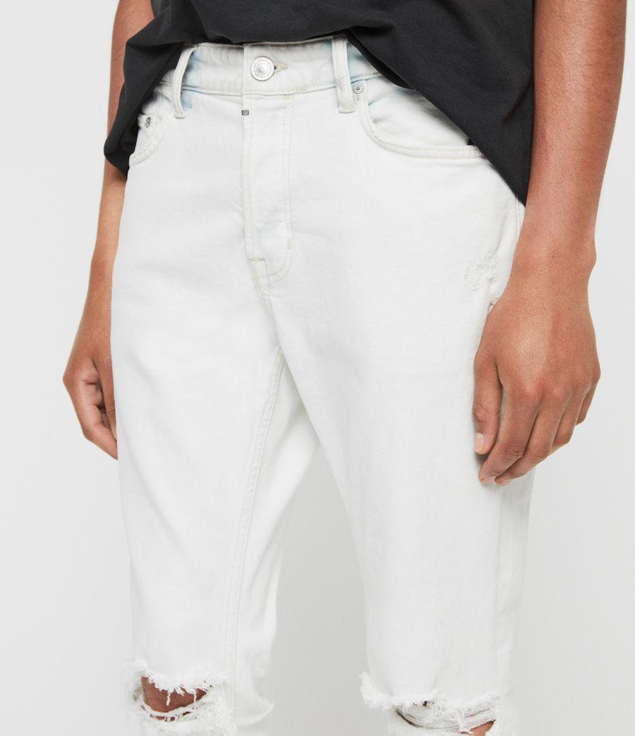 Mens Rex Damaged Slim Jeans, Bleached Indigo Blue (bleachedindigoblue) - Image 4
