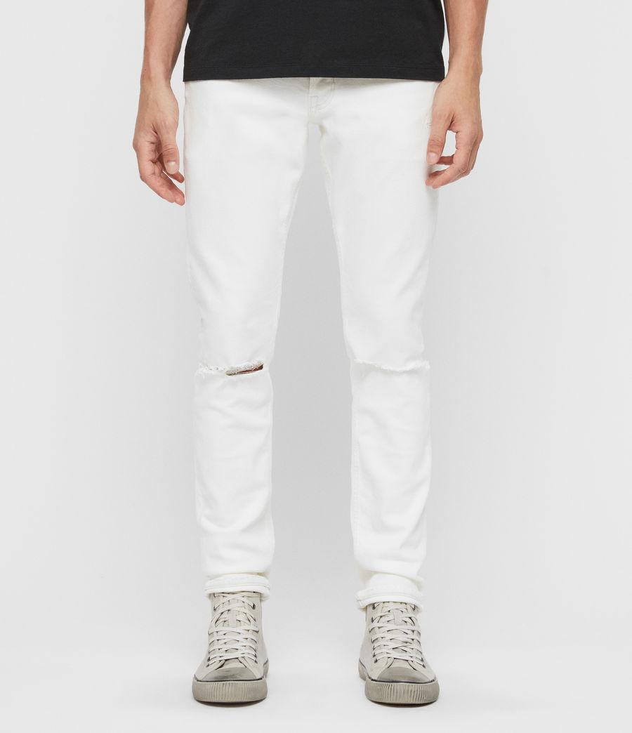 Herren Rex Schmale Jeans mit Rissen, Verblasstes Weißblau (blch_indigo_blue) - Image 1