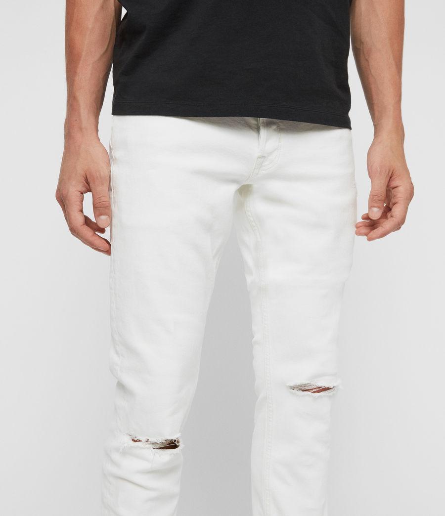 Herren Rex Schmale Jeans mit Rissen, Verblasstes Weißblau (blch_indigo_blue) - Image 2