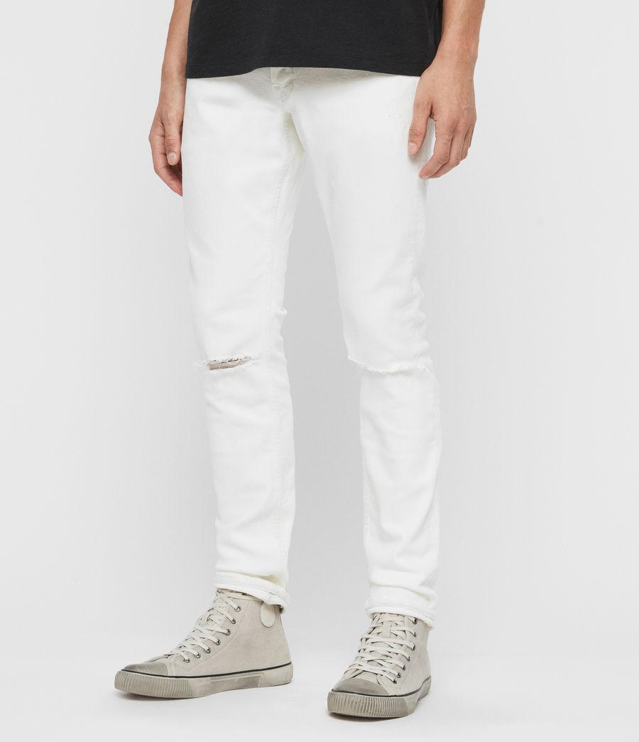 Herren Rex Schmale Jeans mit Rissen, Verblasstes Weißblau (blch_indigo_blue) - Image 3
