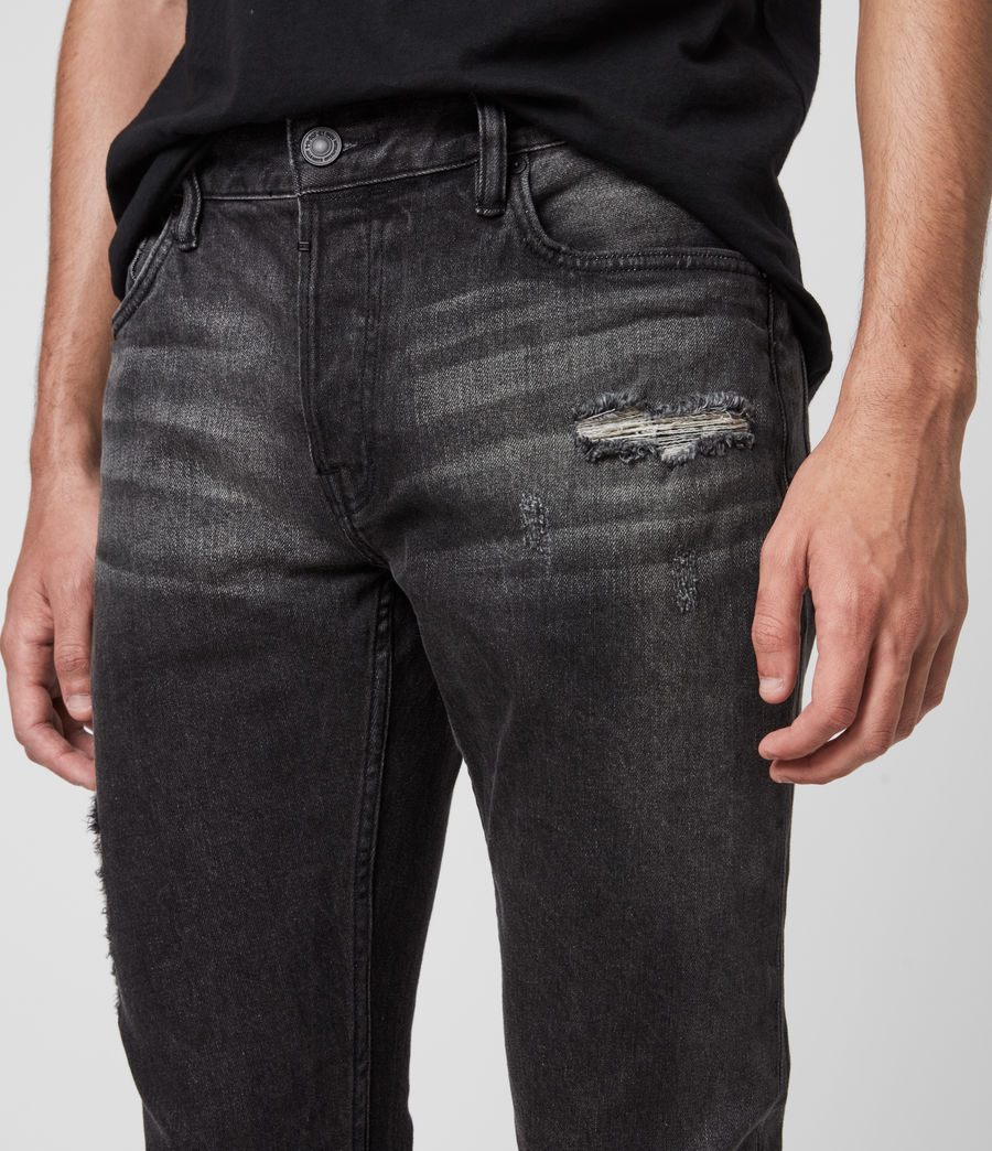 Mens Rex Damaged Slim Jeans, Washed Black (washed_black) - Image 2