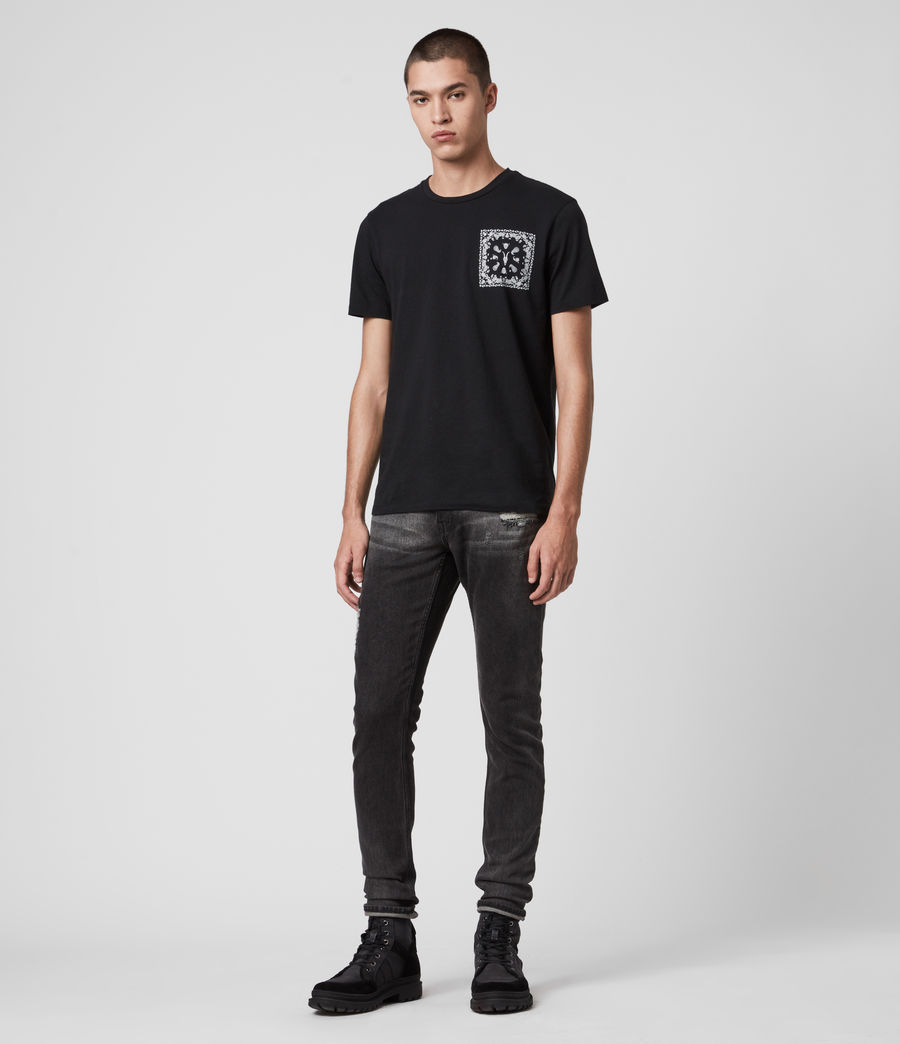 Mens Rex Damaged Slim Jeans, Washed Black (washed_black) - Image 3