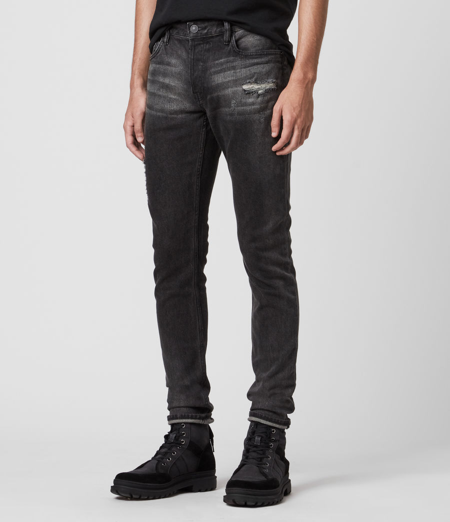 Mens Rex Damaged Slim Jeans, Washed Black (washed_black) - Image 1